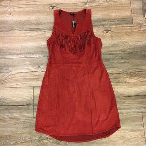 Express rust red fringe mini dress NWT size XS